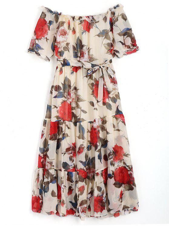 online Floral Midi Off The Shoulder Dress - FLORAL XL