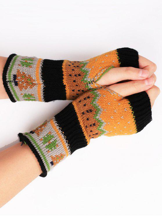 outfits Christmas Tree Crochet Knitting Fingerless Gloves - BLACK