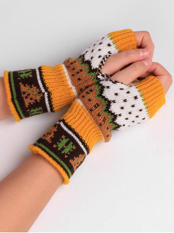 chic Christmas Tree Crochet Knitting Fingerless Gloves - GINGER