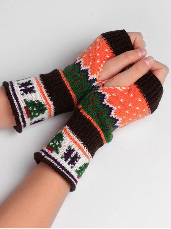unique Christmas Tree Crochet Knitting Fingerless Gloves - COFFEE
