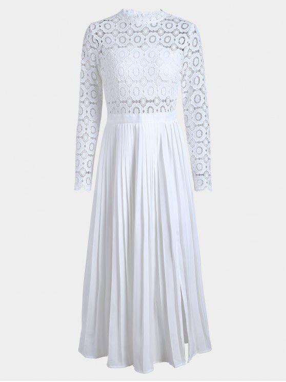 Slice Lace Panel Plissado Vestido - Branco XL