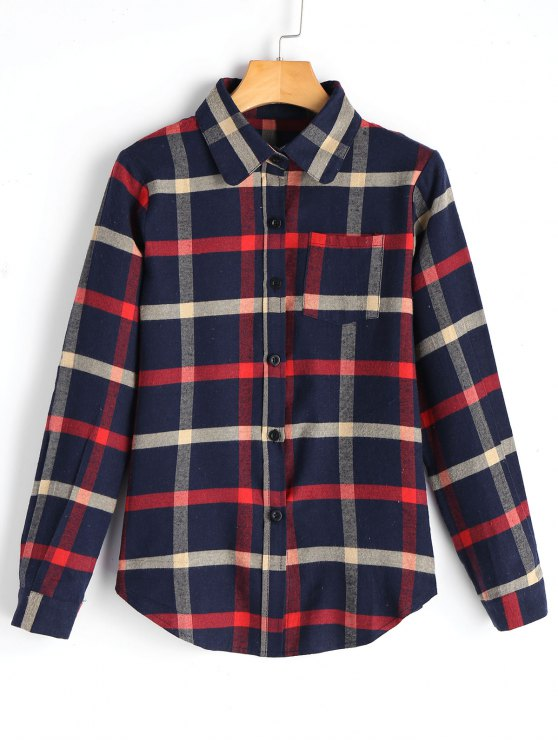 best Checked Button Up Shirt with Pockets - CHECKED S