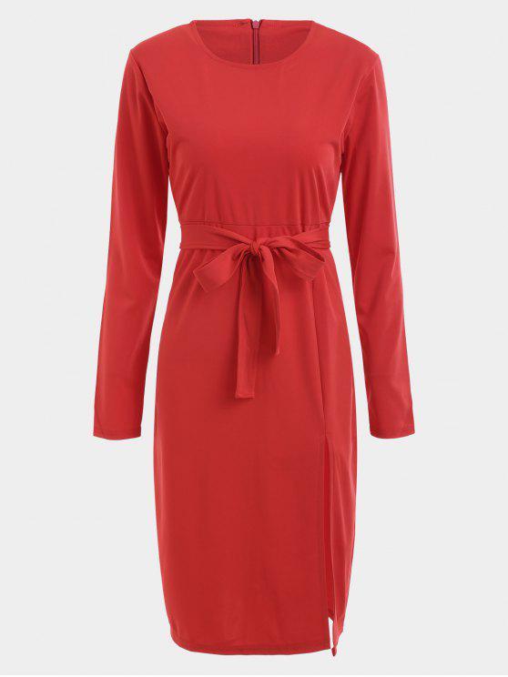 Vestido de manga larga con faja ceñida - Rojo XL