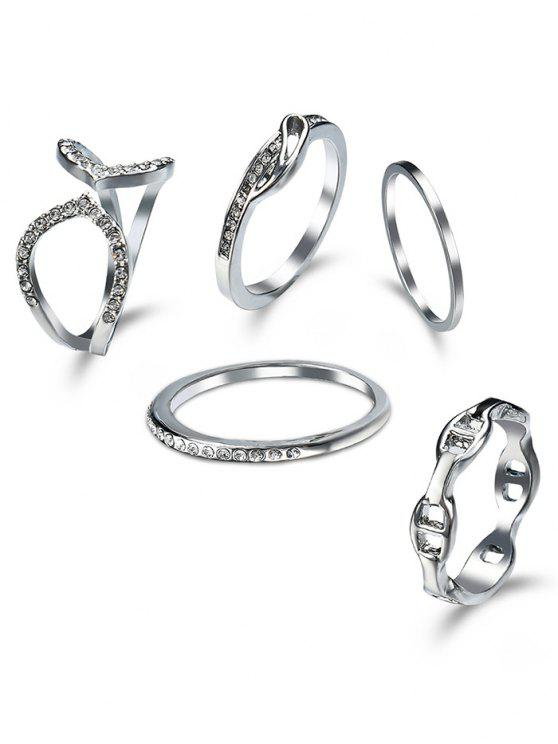ladies Rhinestone Circle Cuff Ring Set - SILVER