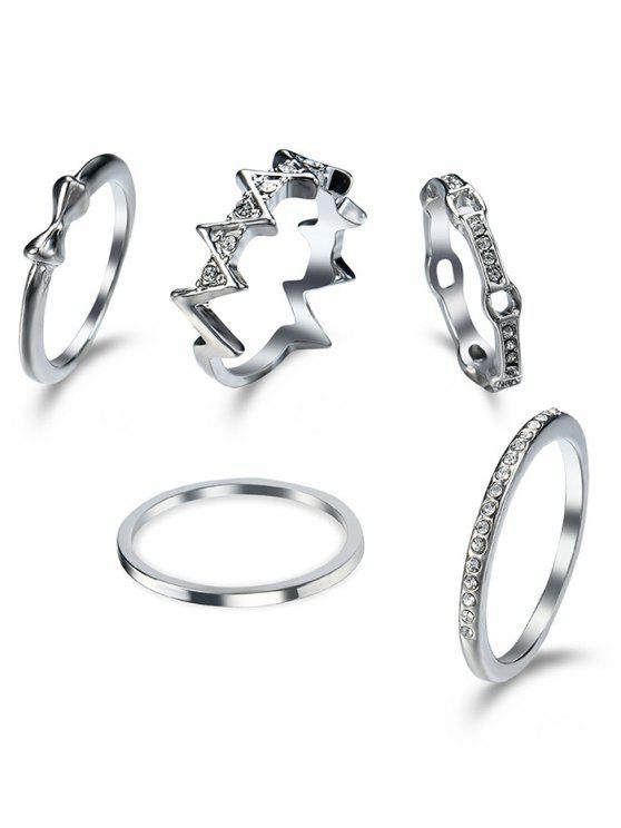 Juego de anillos de diamante - Plata