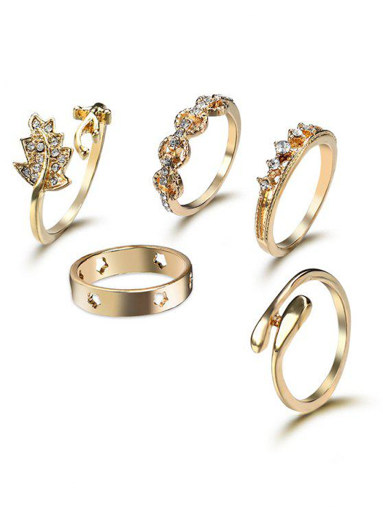 shop Rhinestone Star Leaf Cuff Ring Set - GOLDEN