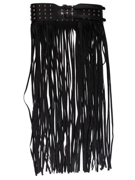 Rivet Embellished Long Tassel Skirt Belt - Preto
