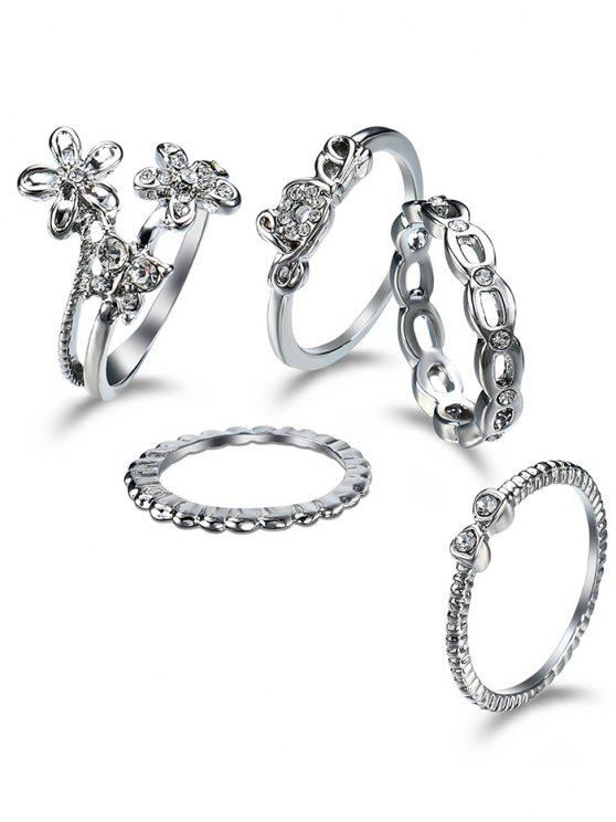 trendy Rhinestone Butterfly Flower Finger Ring Set - SILVER