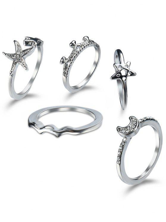 Rhinestone Star Moon Cuff conjunto de anillo de dedo - Plata