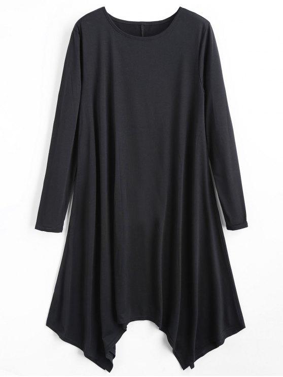 فستان غير متماثل بلون واحد طويلة الأكمام - أسود M