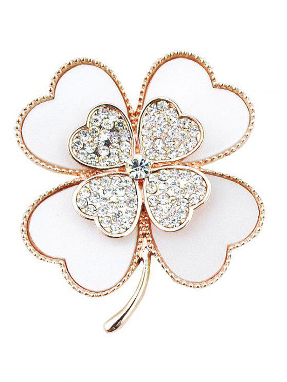 Rhinestone aleación floral Love Heart Brooch - Blanco