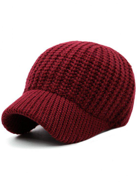 cd0fa6ceb93 26% OFF  2019 Plain Ribbed Knit Baseball Hat In WINE RED