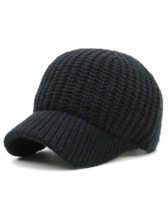 Cappello da baseball a maglia a coste - Nero