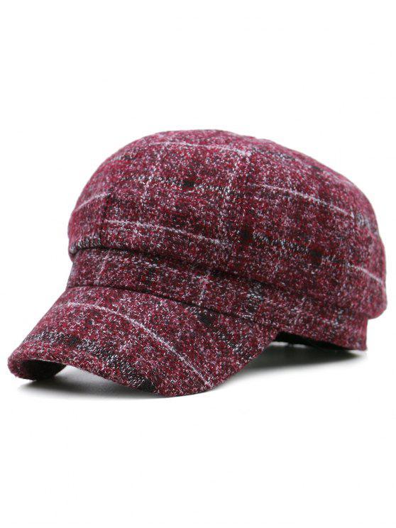 Cappello del cestino del reticolo del plaid - Rosso