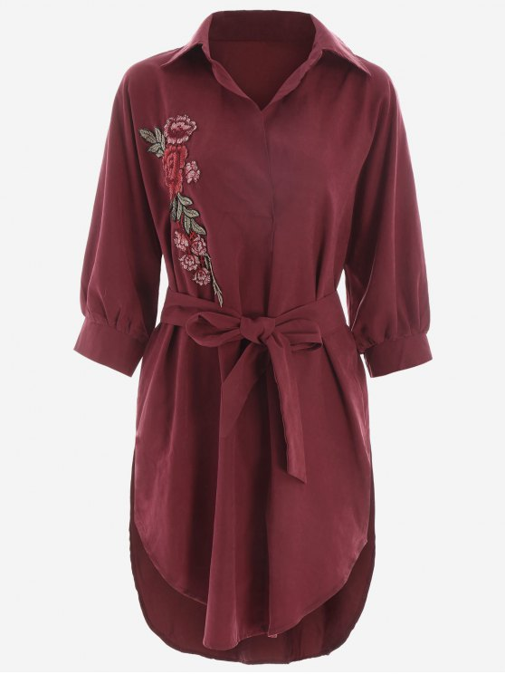 hot Floral Patched Belted High Low Shirt Dress - DEEP RED S