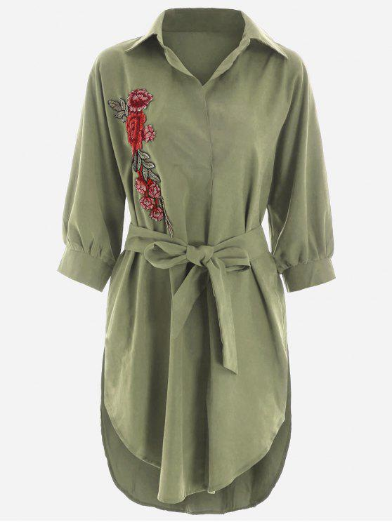 chic Floral Patched Belted High Low Shirt Dress - ARMY GREEN S