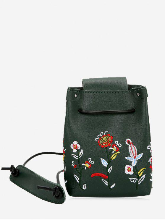 Bolsa Crossbody do Drawstring da flor do bordado - Verde