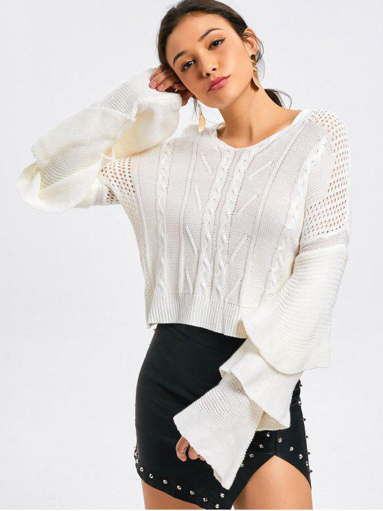 ladies Layered Sleeve Cable Knit Panel Sweater - WHITE S