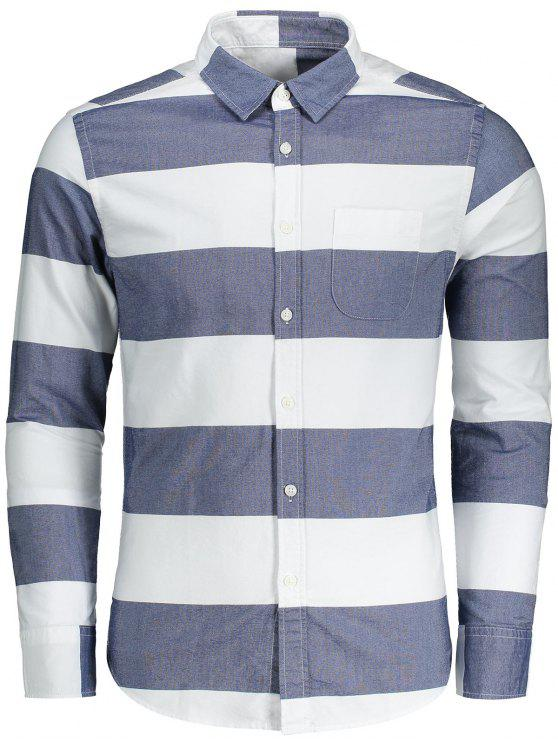 outfits Button Down Striped Shirt - BLUE AND WHITE L