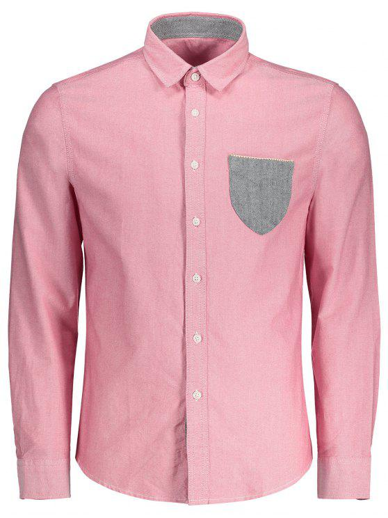 trendy Button Up Pocket Shirt - SHALLOW PINK 2XL