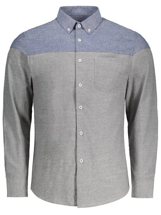 affordable Button Down Two Tone Shirt - GRAY 3XL