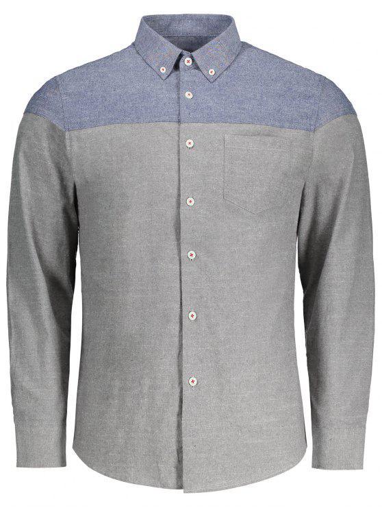 Hemd mit Knopf und zwei Farben - Grau L