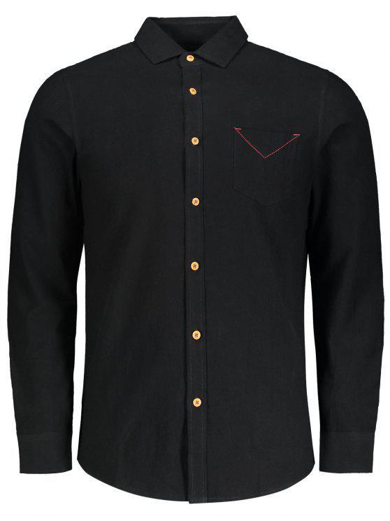 hot Button Down Pocket Plain Shirt - BLACK 3XL