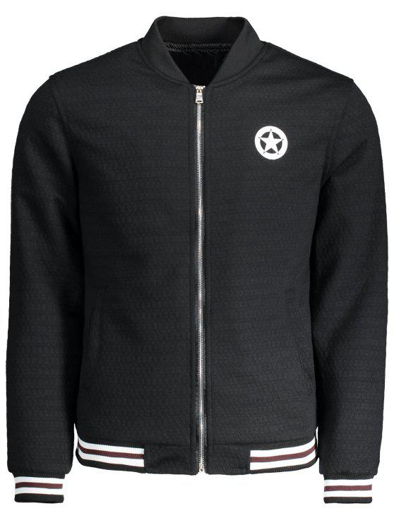 buy Textured Zipper Baseball Jacket - BLACK XL