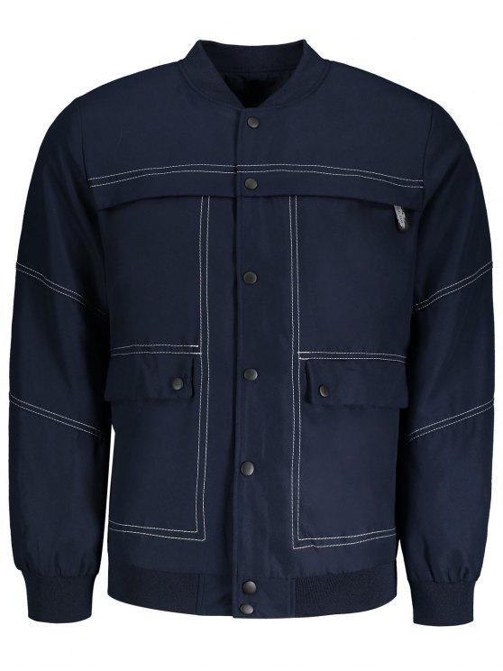 trendy Sanp-button Bomber Jacket - BLUE XL