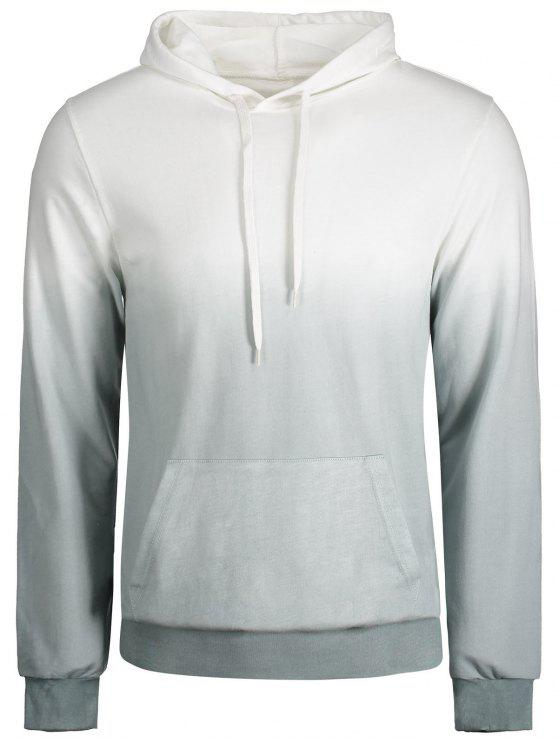 latest Kangaroo Pocket Ombre Hoodie - GREY AND WHITE 2XL