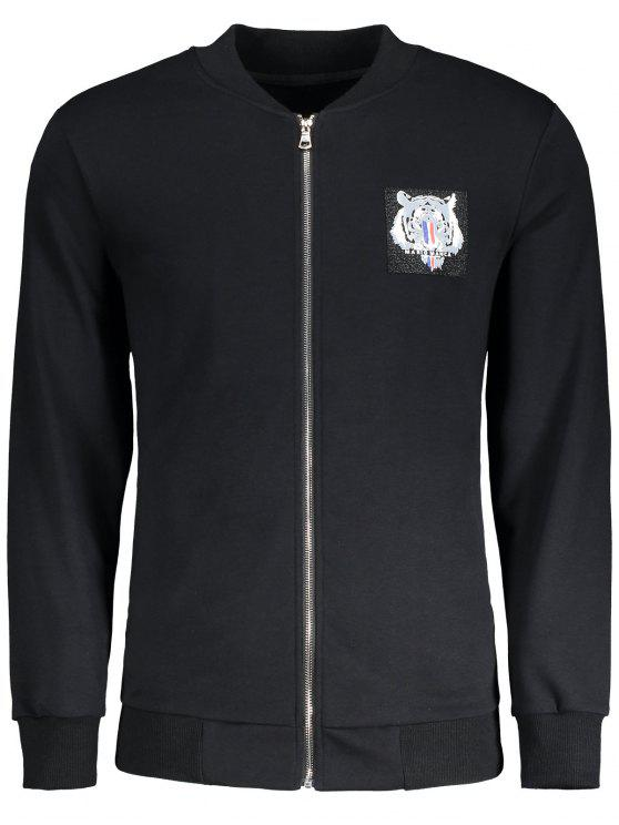 best Zippered Tiger Jacket - BLACK 4XL