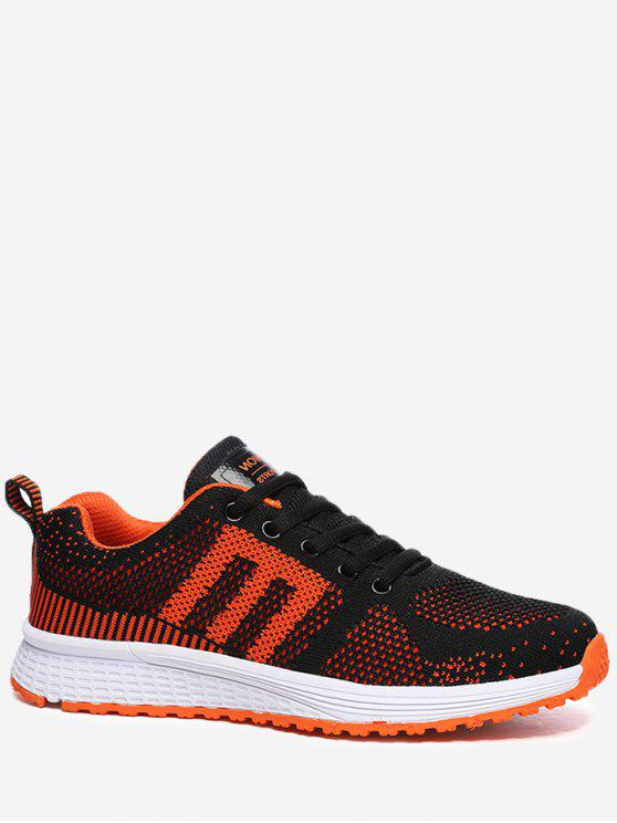fashion Letter Contrasting Color Athletic Shoes - BLACK AND ORANGE 39