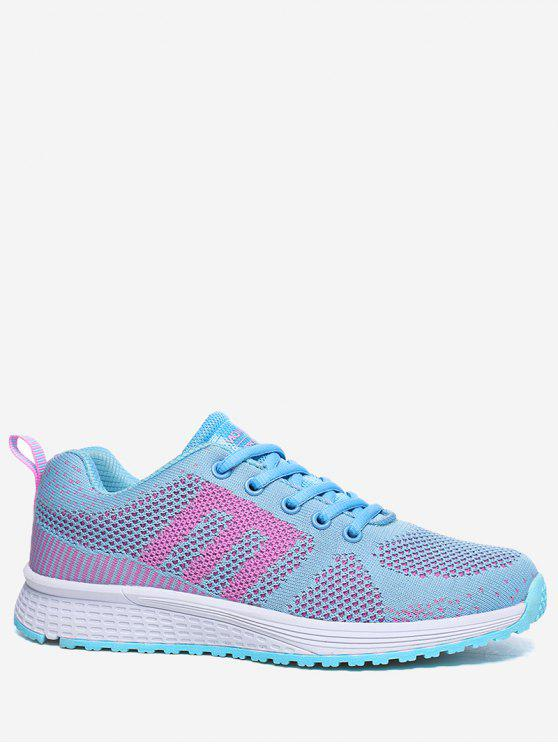 Letra Couro contrastante Athletic Shoes - Azul Claro 36