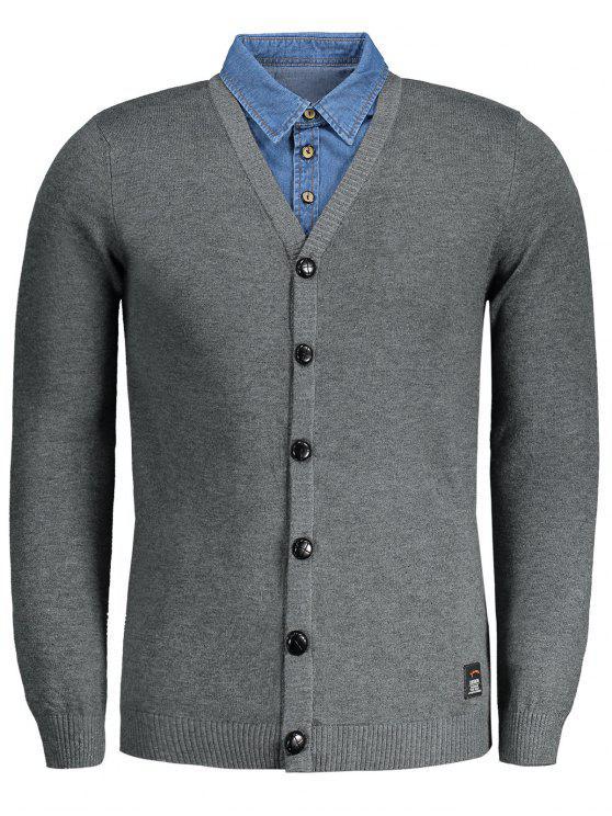 Casaco Cardigan Button Up - Cinza Escuro 2XL