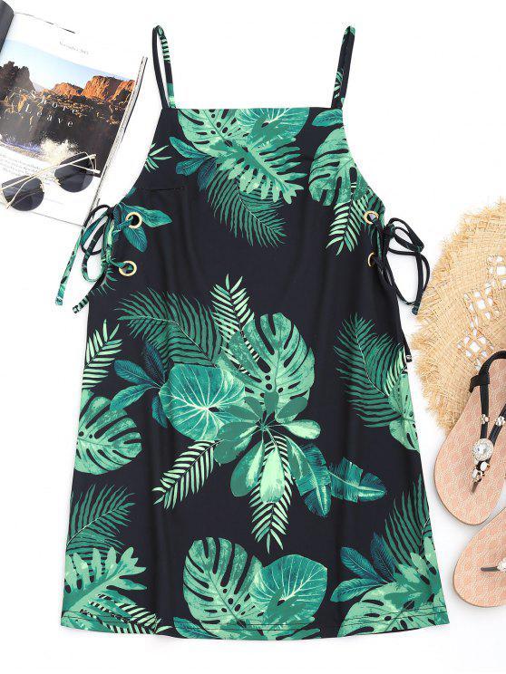 fashion Leaf Print Lace Up Cami Beach Dress - BLACK S