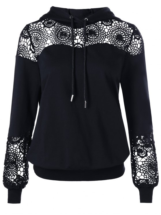 ladies Crochet Lace Insert Drawstring Hoodie - BLACK XL