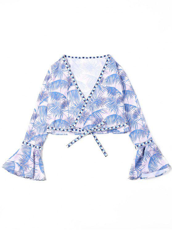 unique Tropical Flare Sleeve Cropped Blouse - BLUE L