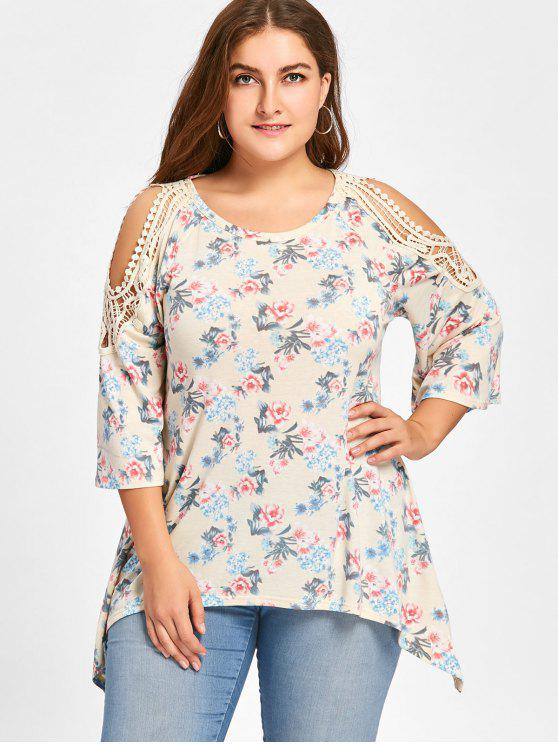 Plus Size Tiny Floral Cold Schulter Top - Palomino 3XL