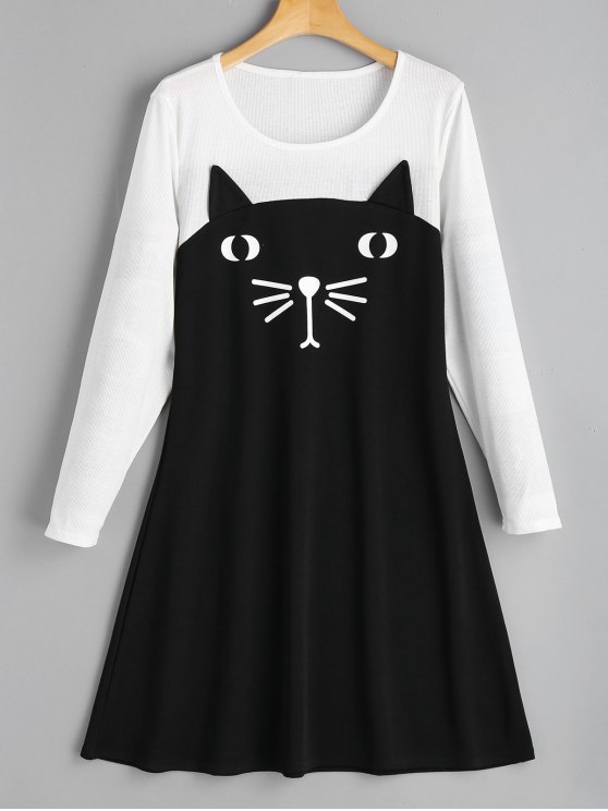 Vestito Casual A Due Tonalità Di Colore Con Stampa A Gatto - Nero 2XL