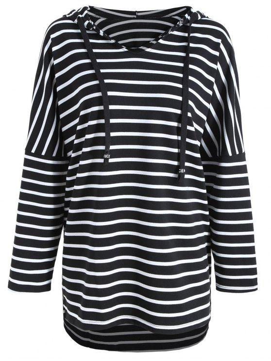 13fd62238a 36% OFF  2019 Plus Size Striped Long Sleeve Hooded Tee In BLACK ...