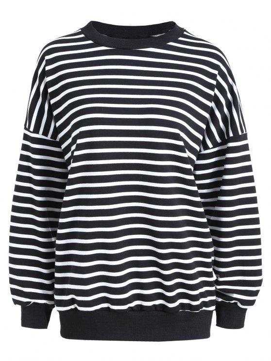 Plus Size Drop Schulter Gestreiftes T-Shirt - Schwarzer Streifen Eine Größe