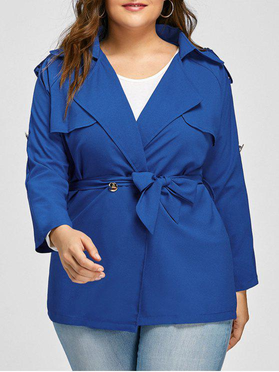 Veste à Revers et à Manches Raglan avec Ceinture Grande-Taille - Bleu 2XL