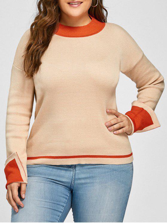 Camisola de jarra listrada de ombro com ombro de tamanho grande - Camelo Claro 3XL