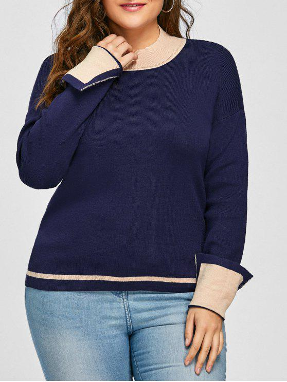latest Plus Size Drop Shoulder Striped Jumper Sweater - PURPLISH BLUE 4XL