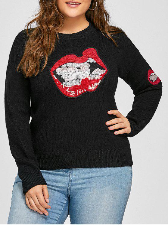 Plus Size Lip Sequin Drop Shoulder Sweater - Preto 4XL