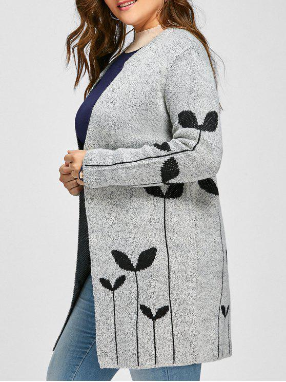 Sprout Jacquard Drop Shoulder Plus Size Cardigan - Cinza claro 2XL