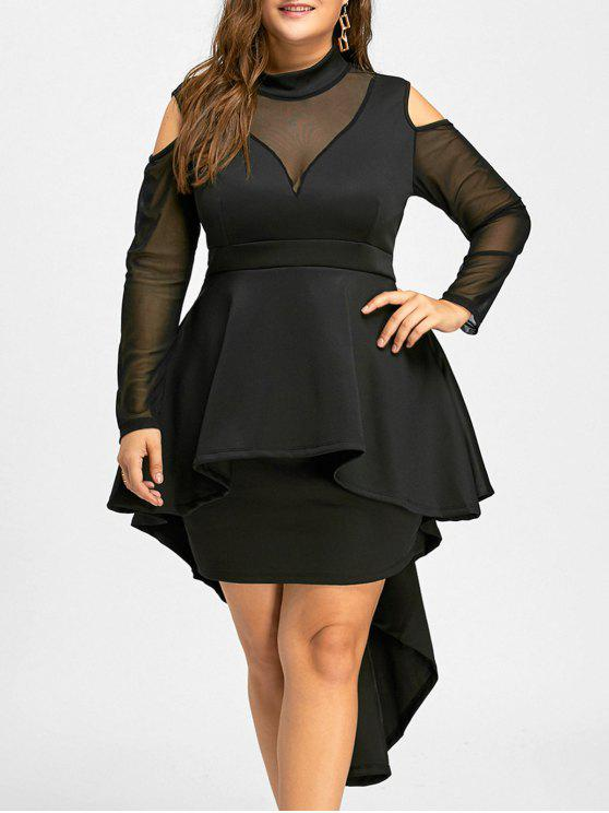 Plus Size Mesh Panel High Low Bodycon Dress BLACK: Plus Size ...