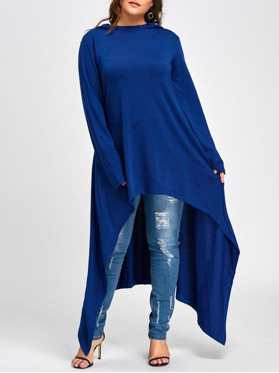 lady Plus Size Maxi High Low Hooded Top - BLUE 3XL