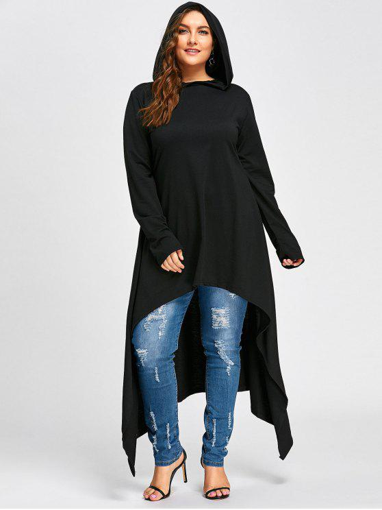 hot Plus Size Maxi High Low Hooded Top - BLACK 2XL