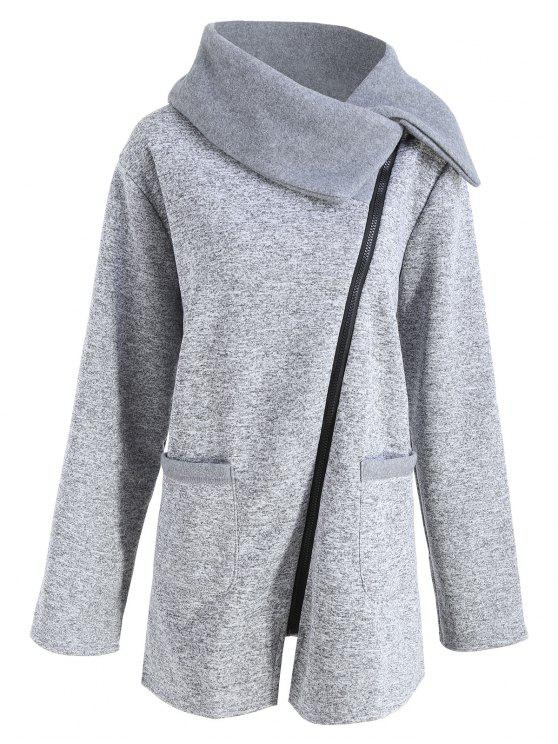Plus Size Fleece Oblique Zipper Turn Down Hoodie - Cinza Claro XL